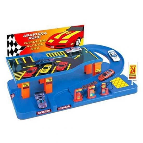 Brinquedo Posto Expresso Com 8 Carrinhos - Braskit 7504
