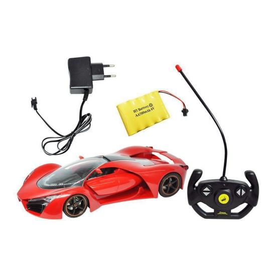 Carrinho De Controle Remoto Vermelho Bateria Recarregável