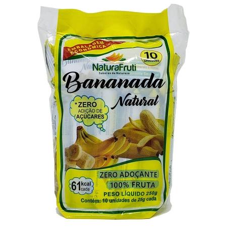 Bananada Natural 250g pacote com 10 bananadas - NaturaFruti