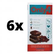 Chocolate Only4 Vegano 70% Cacau Açúcar Coco E Cranberry 80g 6 unidades