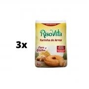 kit 3 Farinha De Arroz Sem Glúten 1 Kg Risovita Para Bolos E Pães