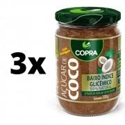 Kit 3x Copra Açúcar De Coco Vidro 350gr