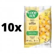 Kit com 10 unidades Salgadinhos Snacks Chips Light De Soja Queijo 25g Good Soy