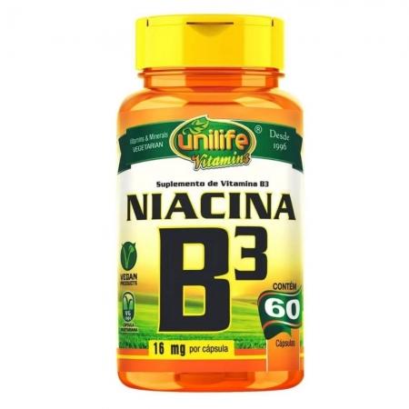 Vitamina B3 Niacina 60 Cápsulas - UNILIFE