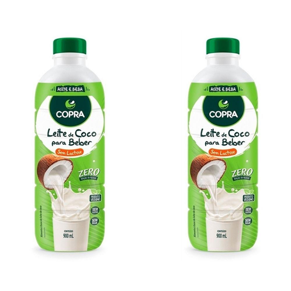 2 garrafas de Leite De Coco Líquido Pronto Para Beber 900ml - Copra