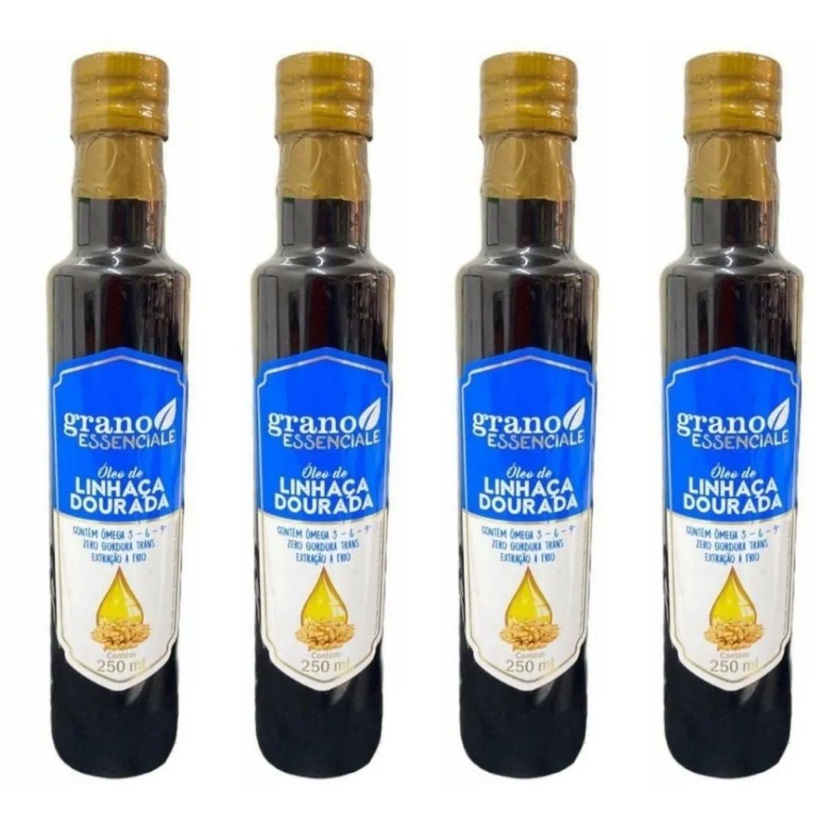 4 unidades Óleo Linhaça Dourada Extração A Frio 250ml Grano Essenciale