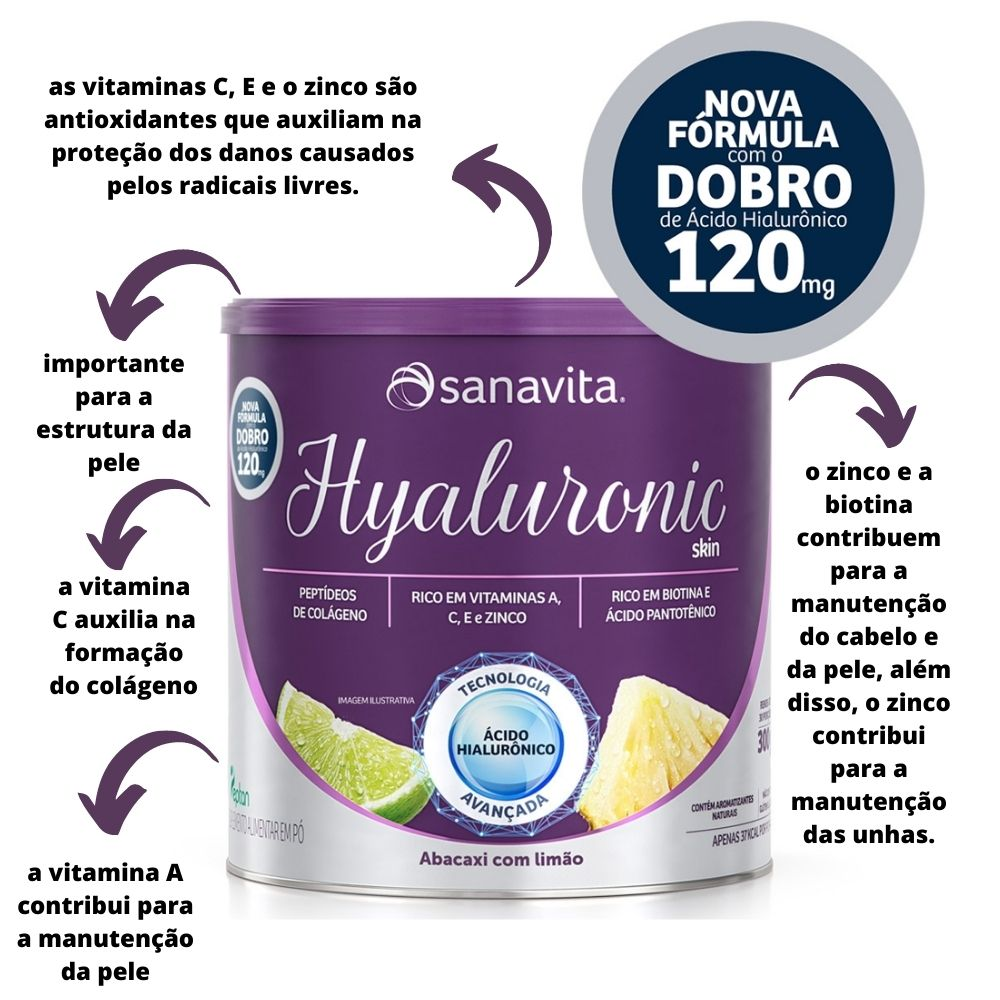 Ácido Hialurônico Hyaluronic Skin Abacaxi com limão Lata 300g Sanavita