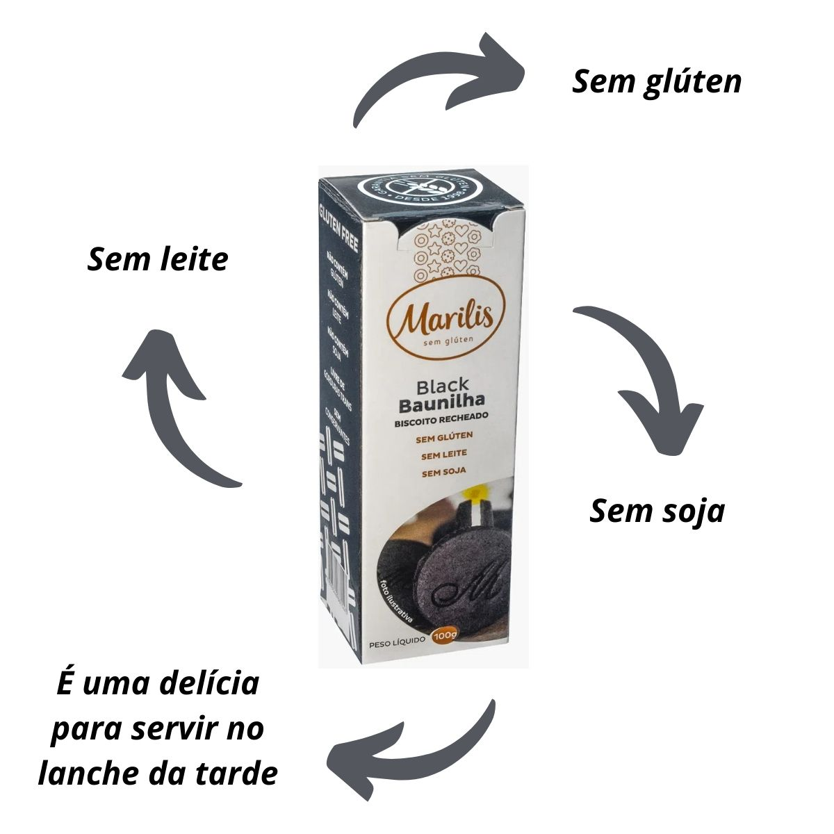 Biscoito Recheado Black Baunilha 100g - Marilis