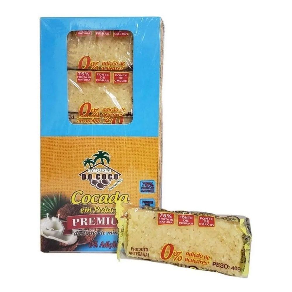 Cocada Premium Zero Adição De Açúcar 40g Caixa com 15 unidades - Sabores Do Coco