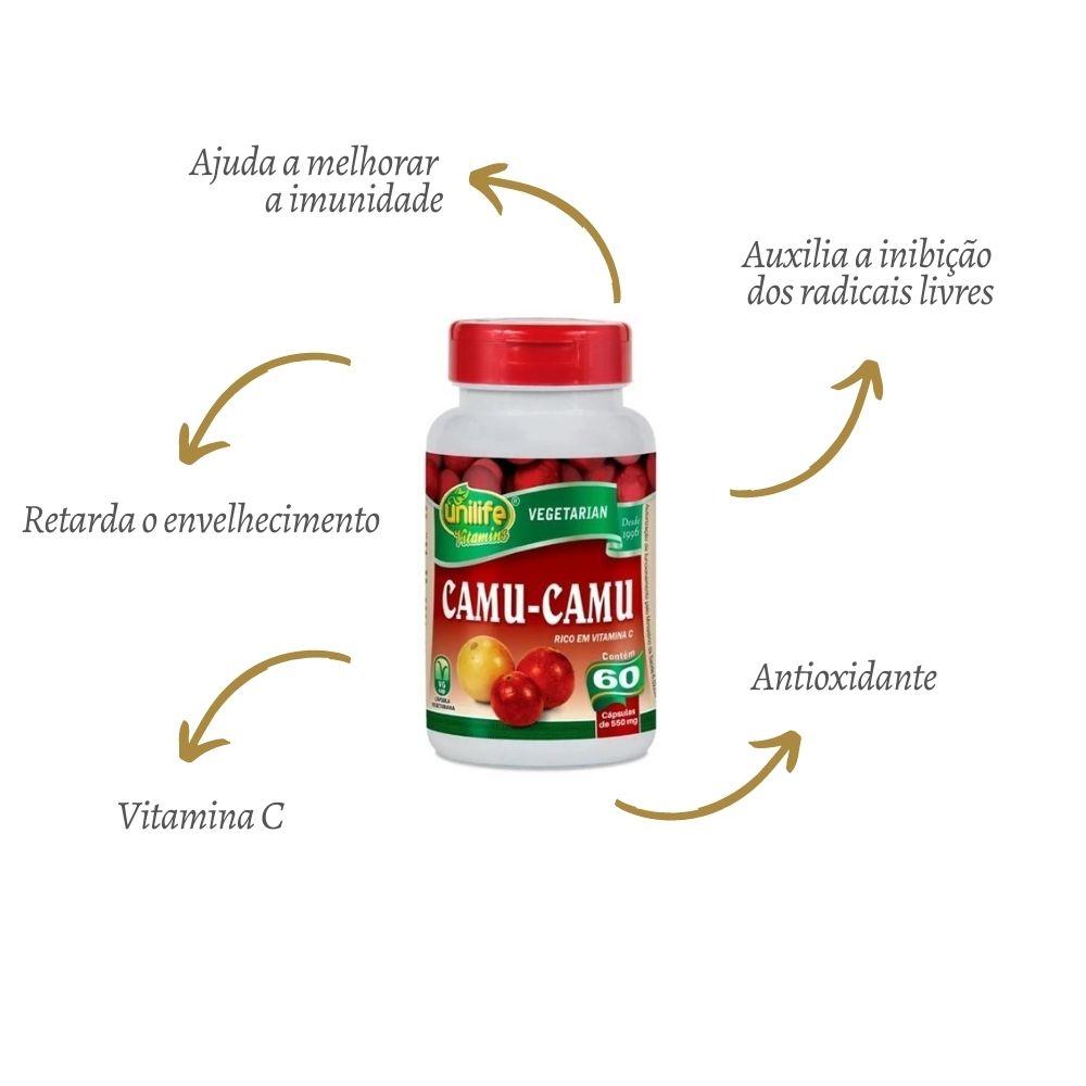 Camu Camu Vitamina C 500mg 60 Cápsulas - Unilife