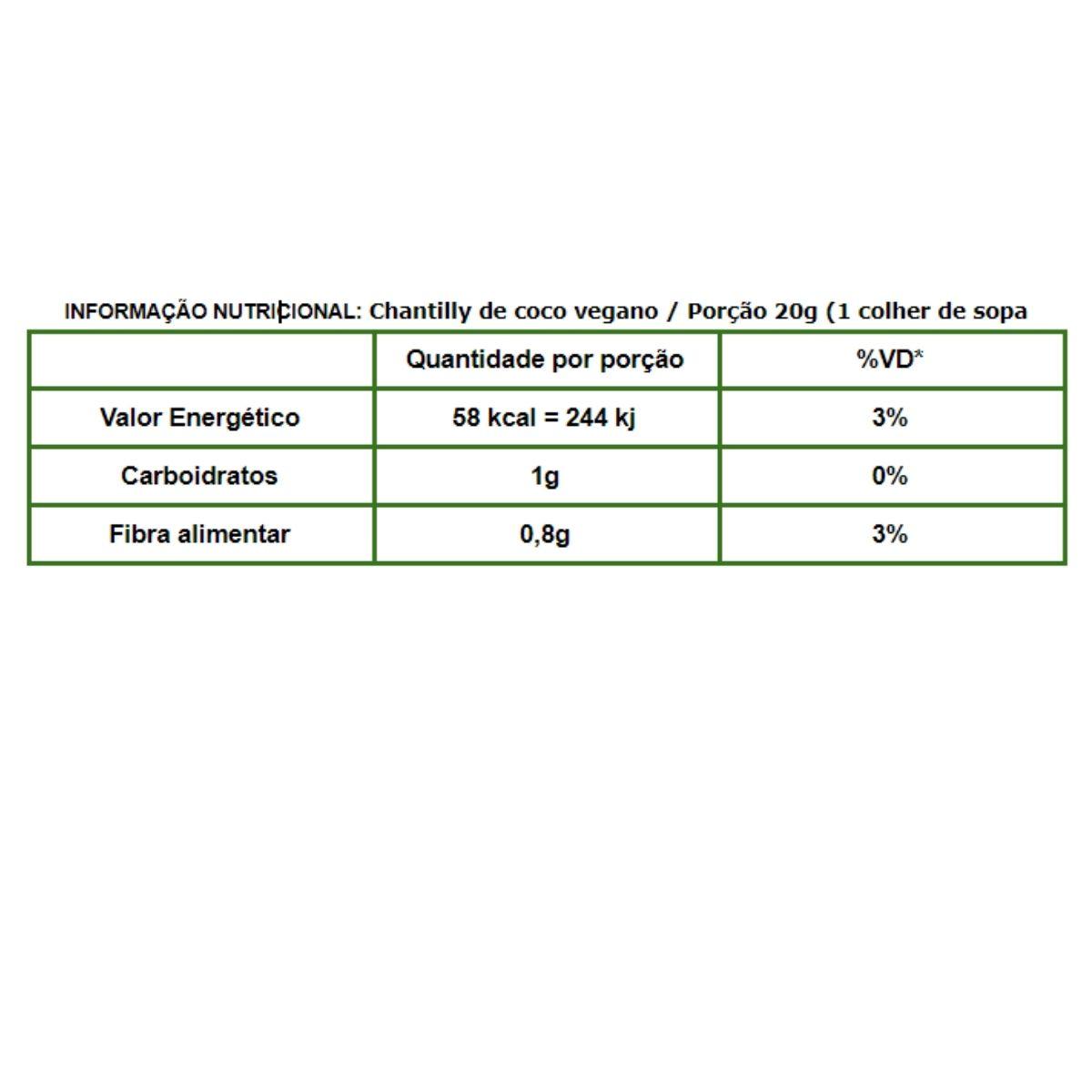 Chantilly coco vegano 240ml - Klein foods