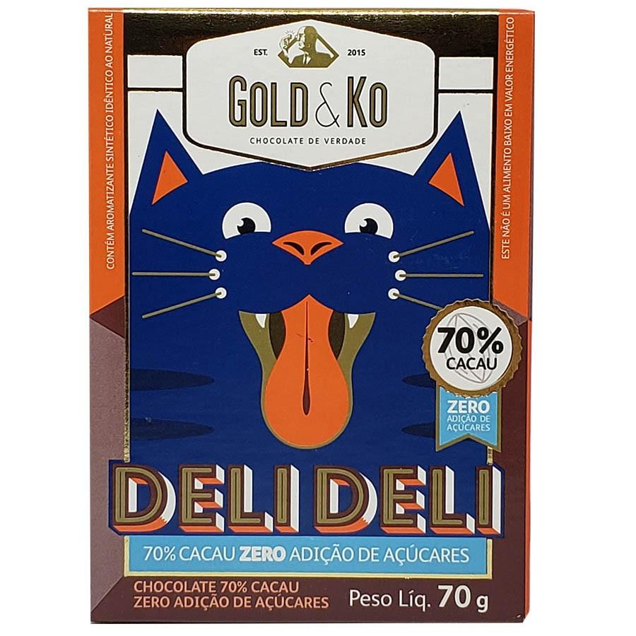 Chocolate 70% Cacau Zero Adição De Açúcares 70g Deli Deli - Gold & Ko