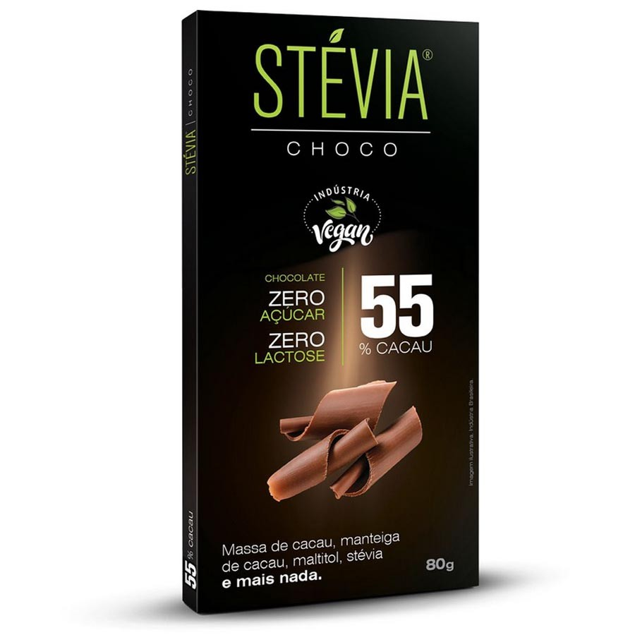 Chocolate com Stévia 55% Cacau 80g - Steviachoco