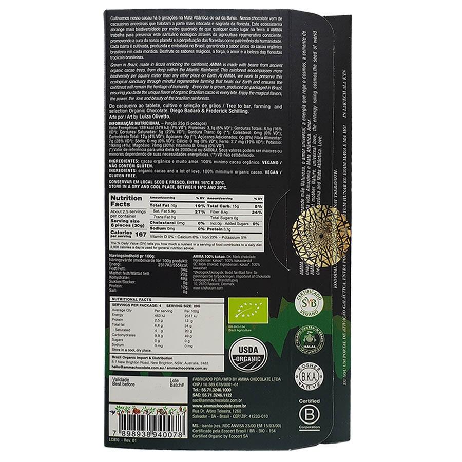 Chocolate Orgânico 100% Cacau - Amma