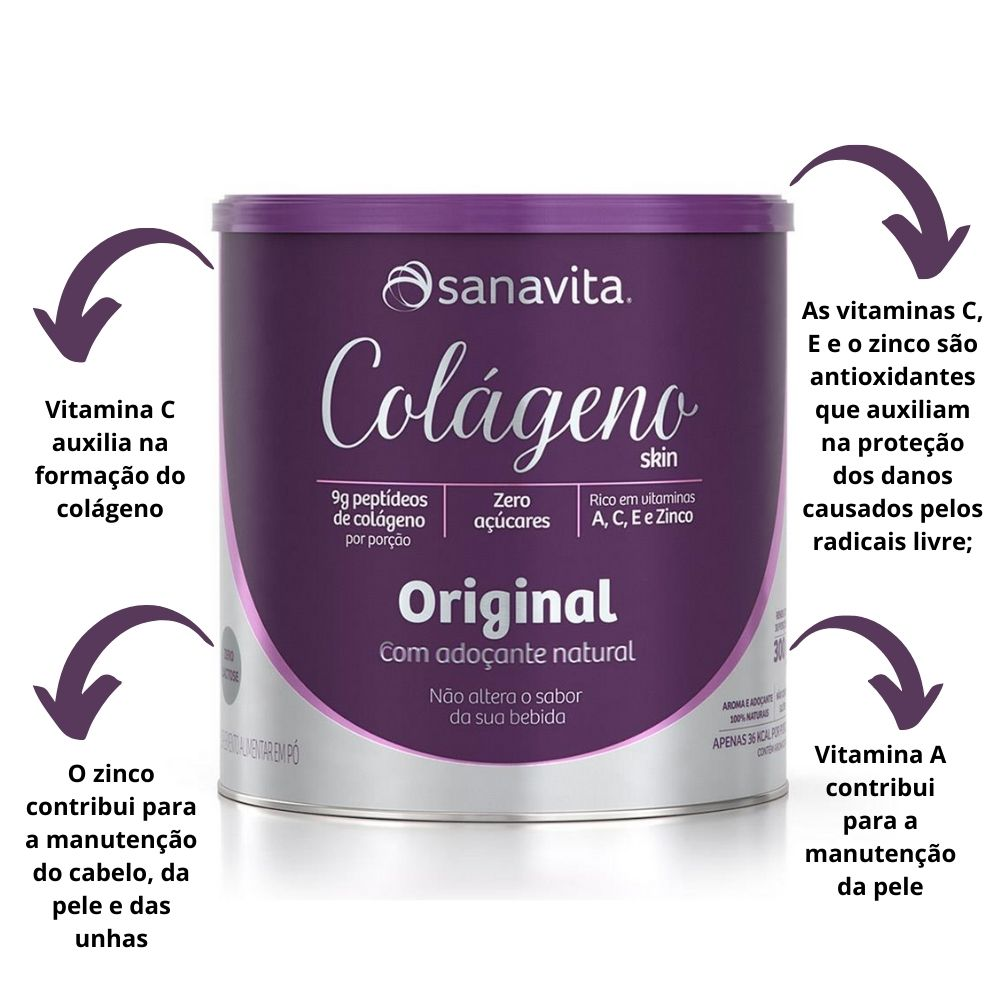 Colágeno Hidrolisado Original com adoçante natural Lata 300g Sanavita