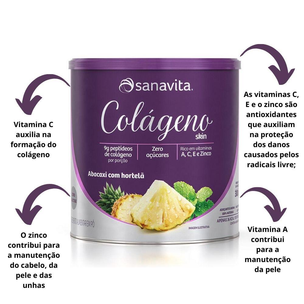 Colágeno Hidrolisado Skin Abacaxi com Hortelã Lata 300g Sanavita