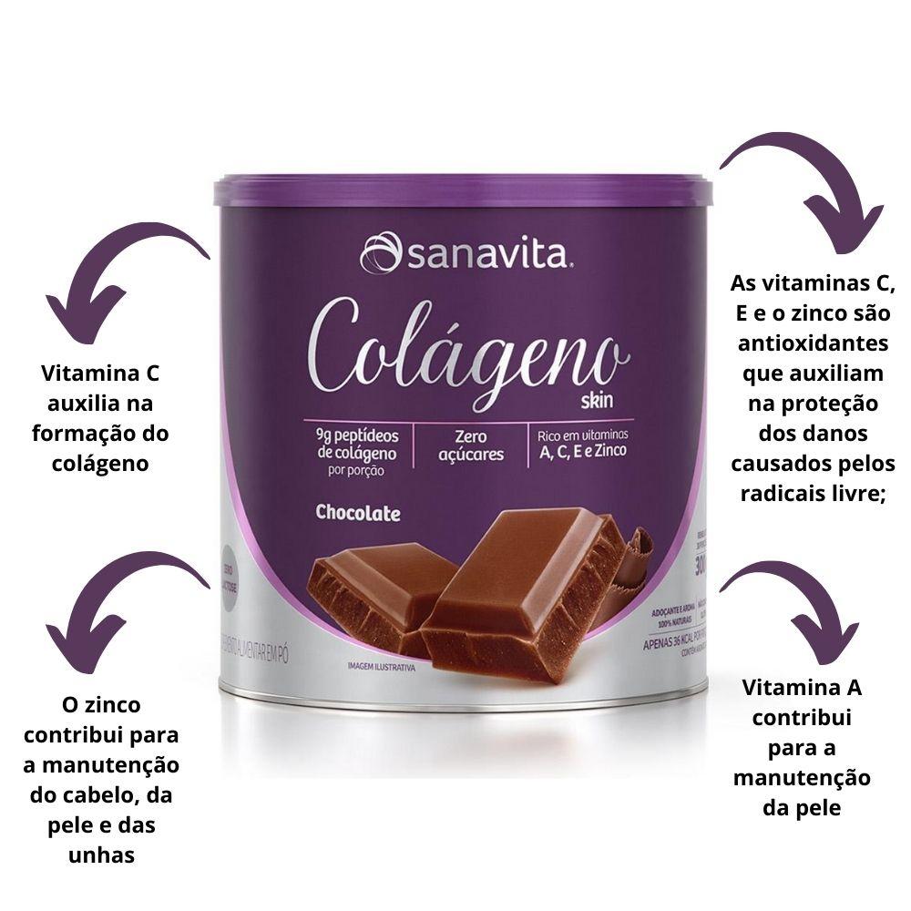 Colágeno Hidrolisado Skin Chocolate Lata 300g Sanavita