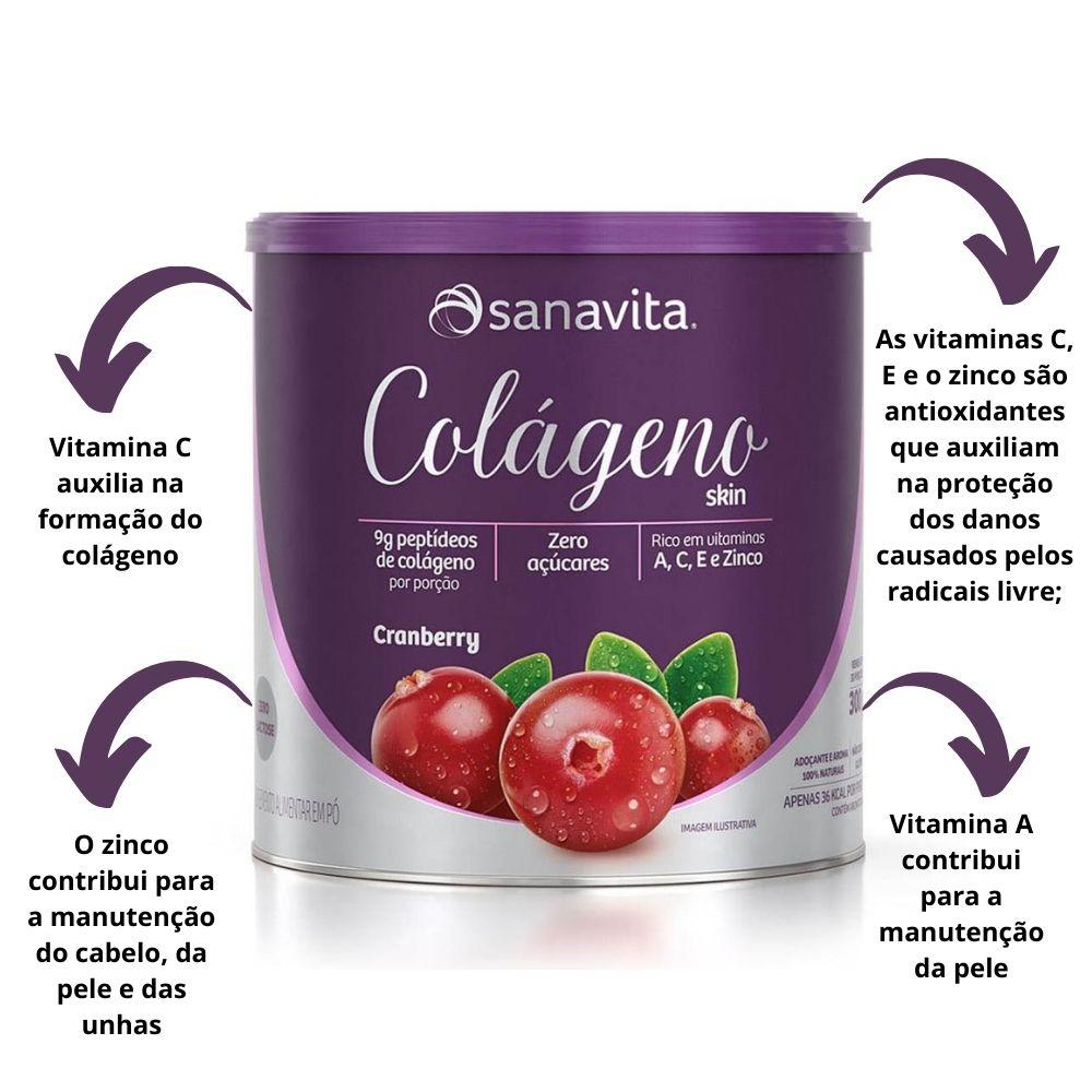 Colágeno Hidrolisado Skin Cranberry Lata 300g Sanavita