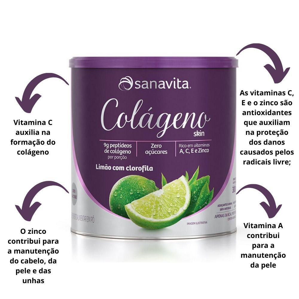 Colágeno Hidrolisado Skin Limão com Clorofila Lata 300g Sanavita