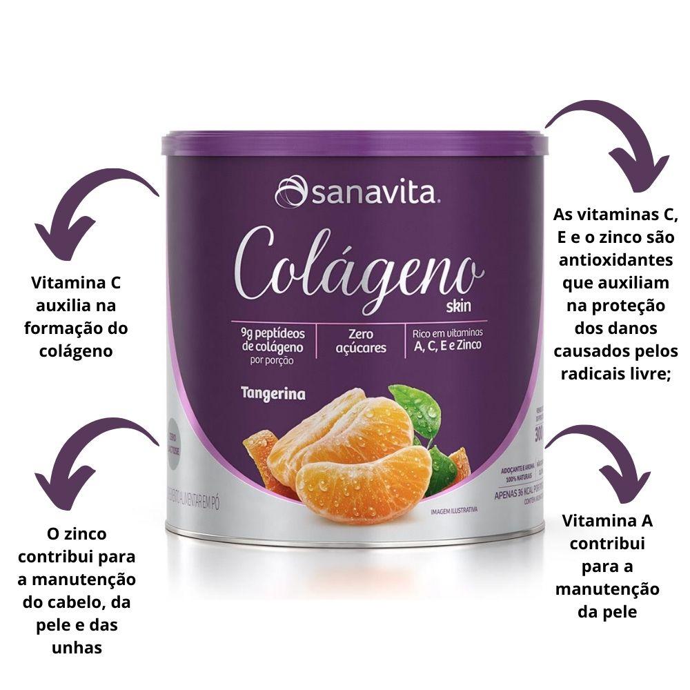 Colágeno Hidrolisado Skin Tangerina Lata 300g Sanavita