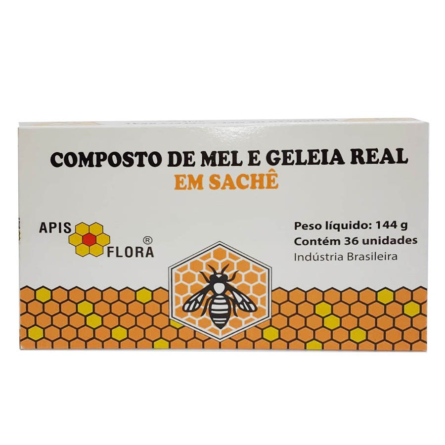 Composto De Mel Com Geleia Real Em Sachê - 144g 36 Unidades - Apis Flora