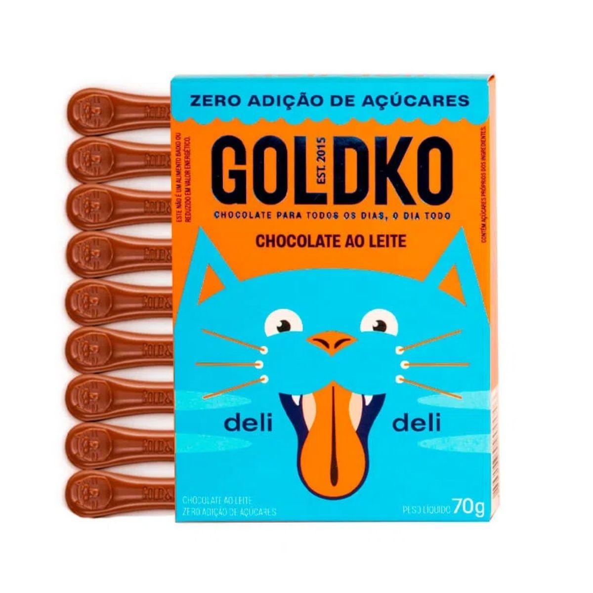 Display Chocolate Ao Leite Língua De Gato Zero Adição 70g Deli Deli Gold & Ko