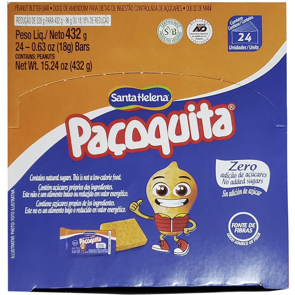 Doce Paçoquita Diet Zero Adição De Açúcar 24 Unidades - Santa Helena