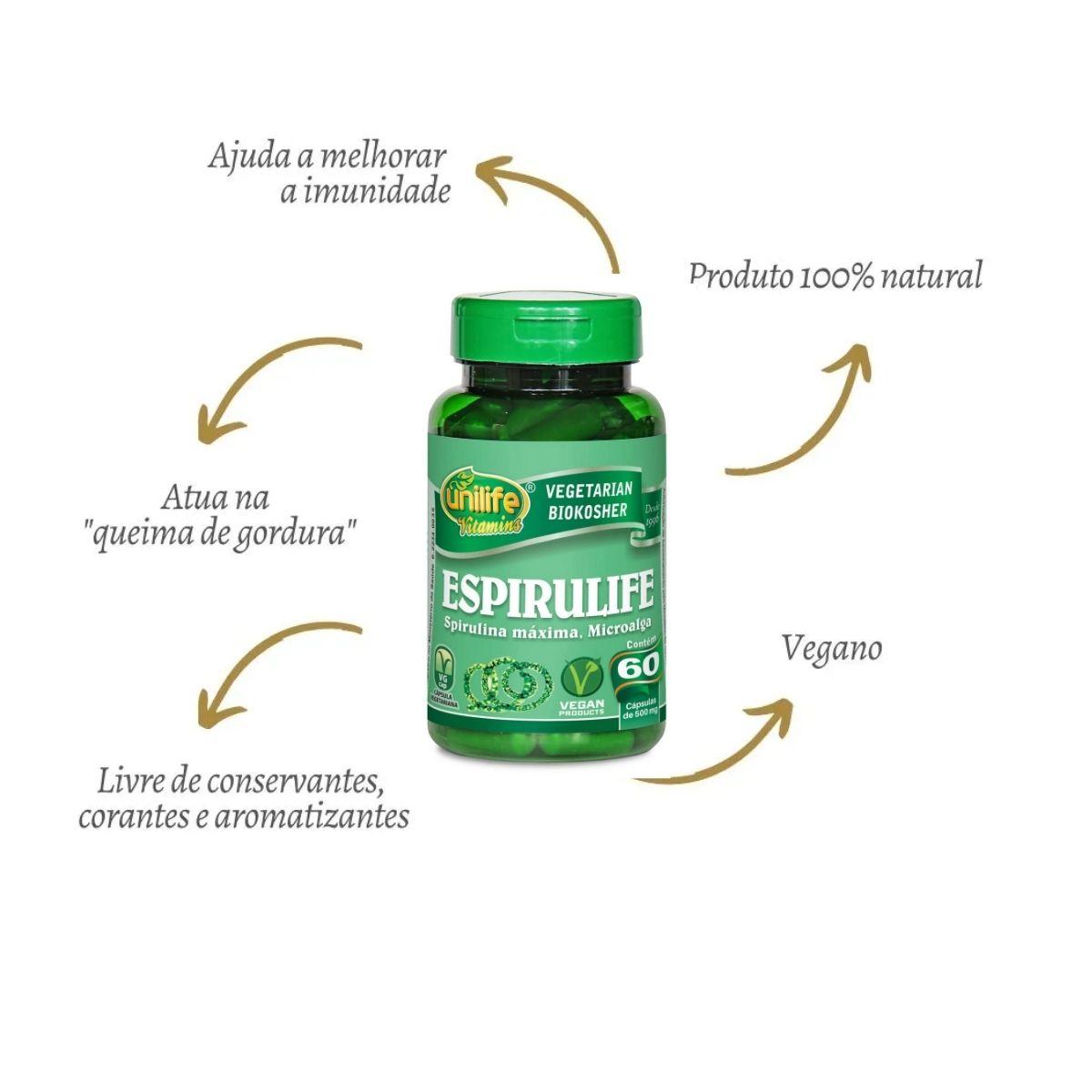 Espirulife spirulina 500mg - 60 Cápsulas - unilife