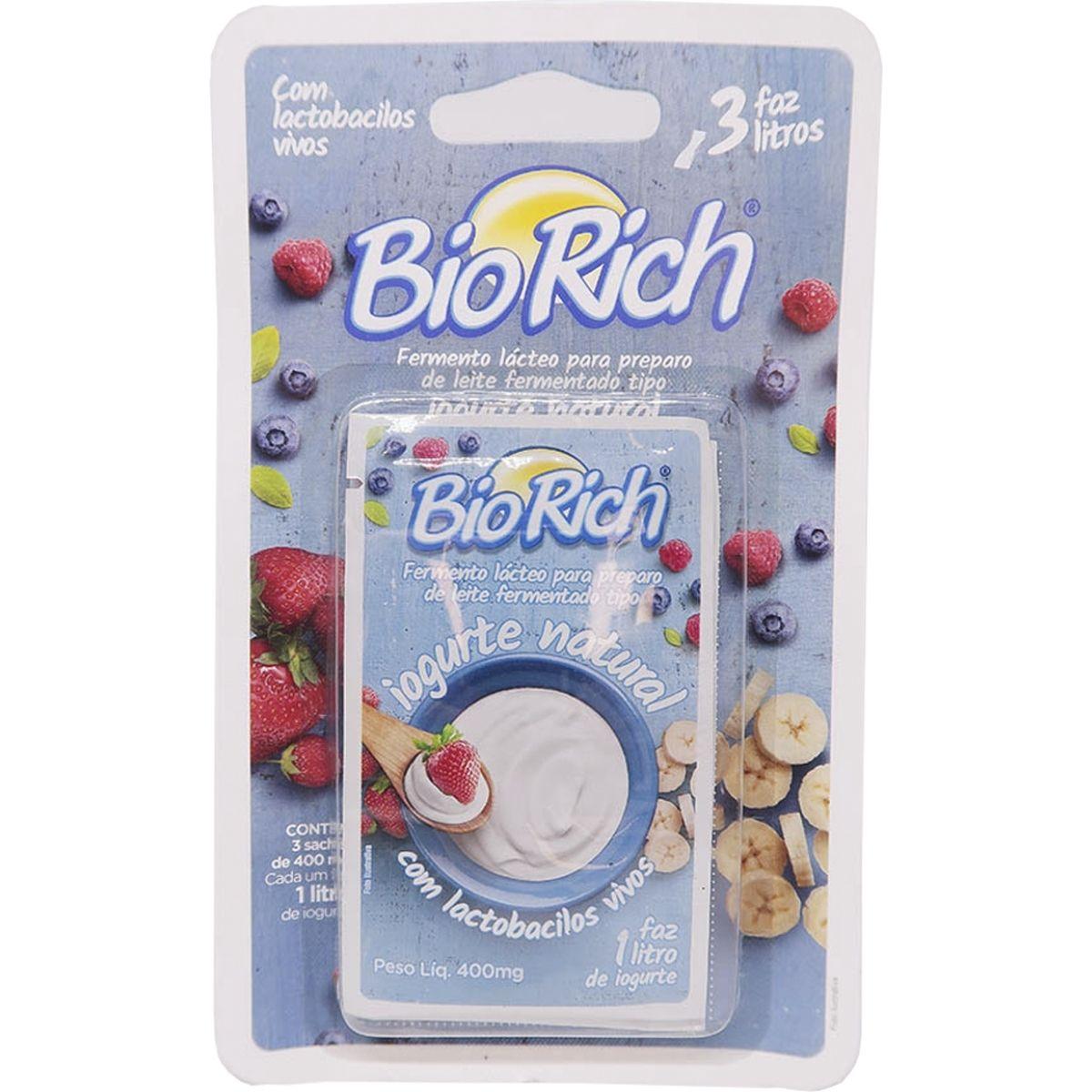 Fermento Bio Rich com 400mg com 12 Cartelas com 3 sachês cada total de 36 sachês
