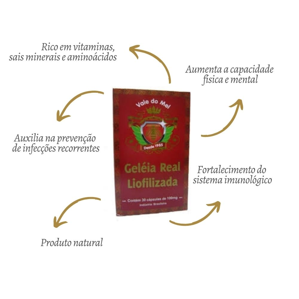 Geléia Real Liofilizada 30 cápsulas - VALE DO MEL