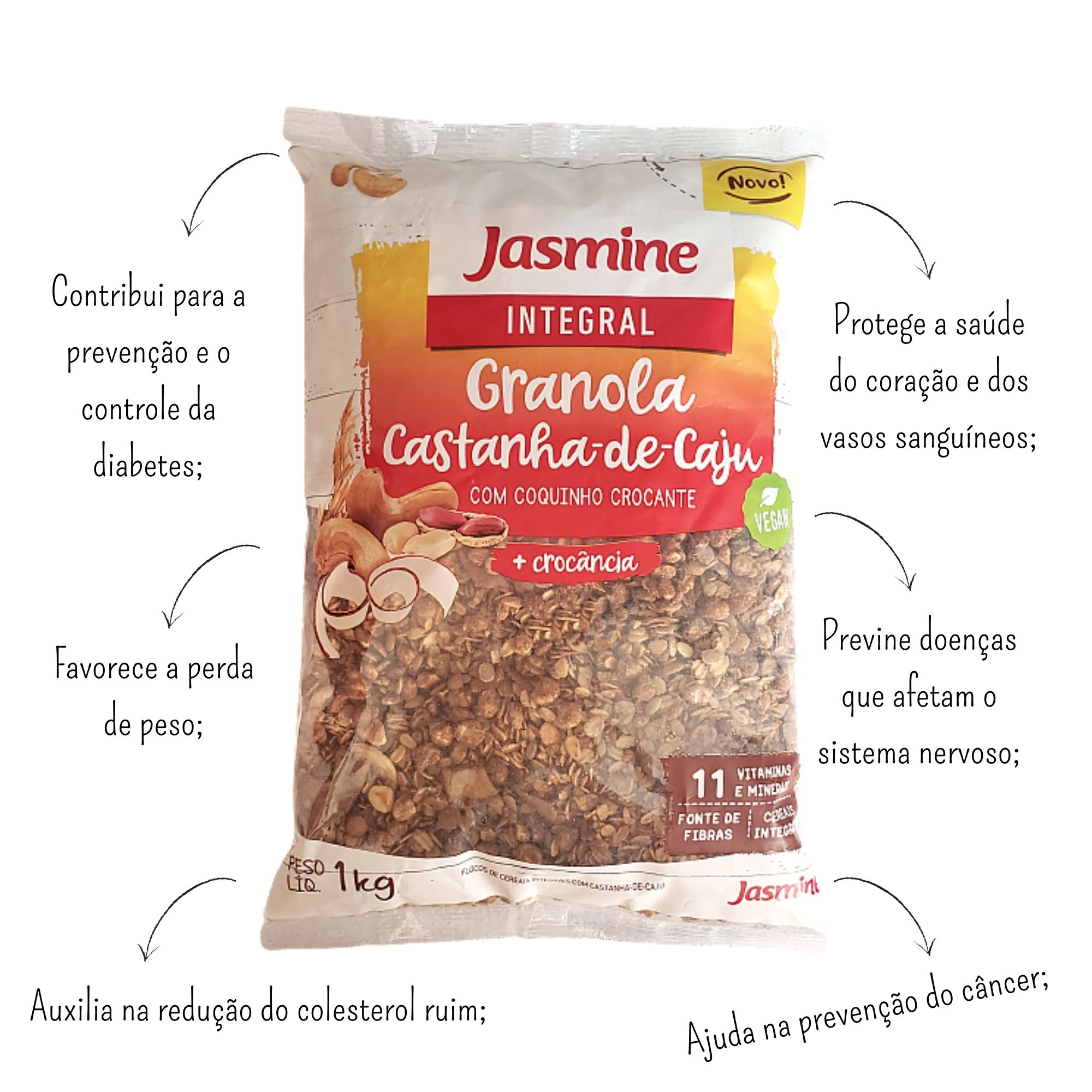 Granola Castanha-De-Caju Com Coquinho Crocante 1Kg - Jasmine