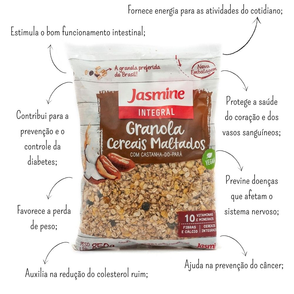 Granola Integral Cereais Maltados 850g - Jasmine