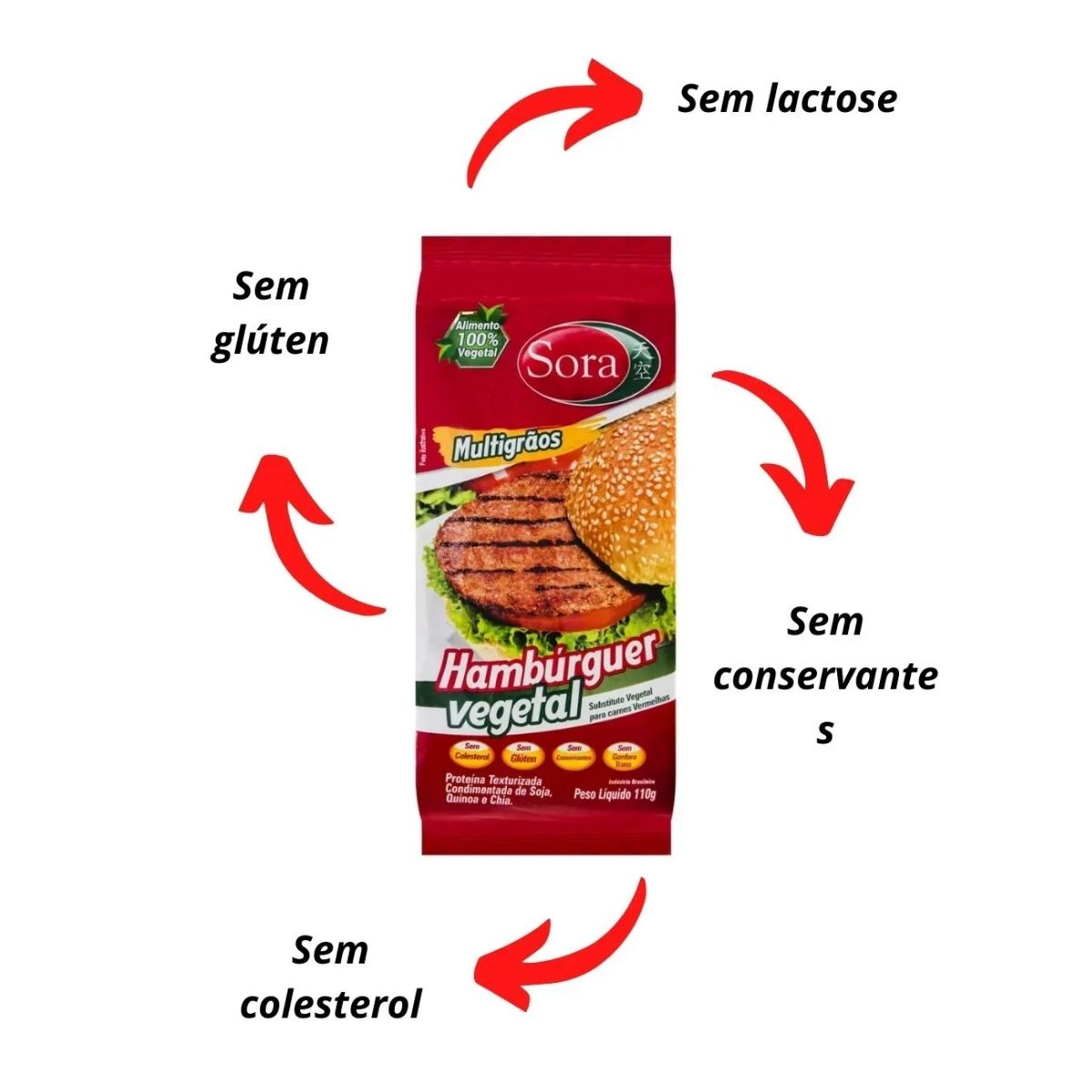Hamburguer de soja carne vermelha sora