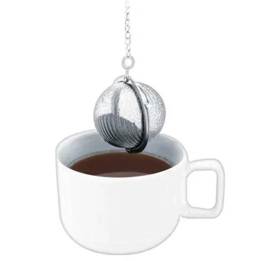 Infusor De Chá De Aço Inox Peneira Coador