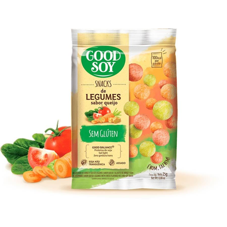 Kit 10 Salgadinho, chips, Snack Light De Soja Legumes Ao Queijo 25g - Good Soy