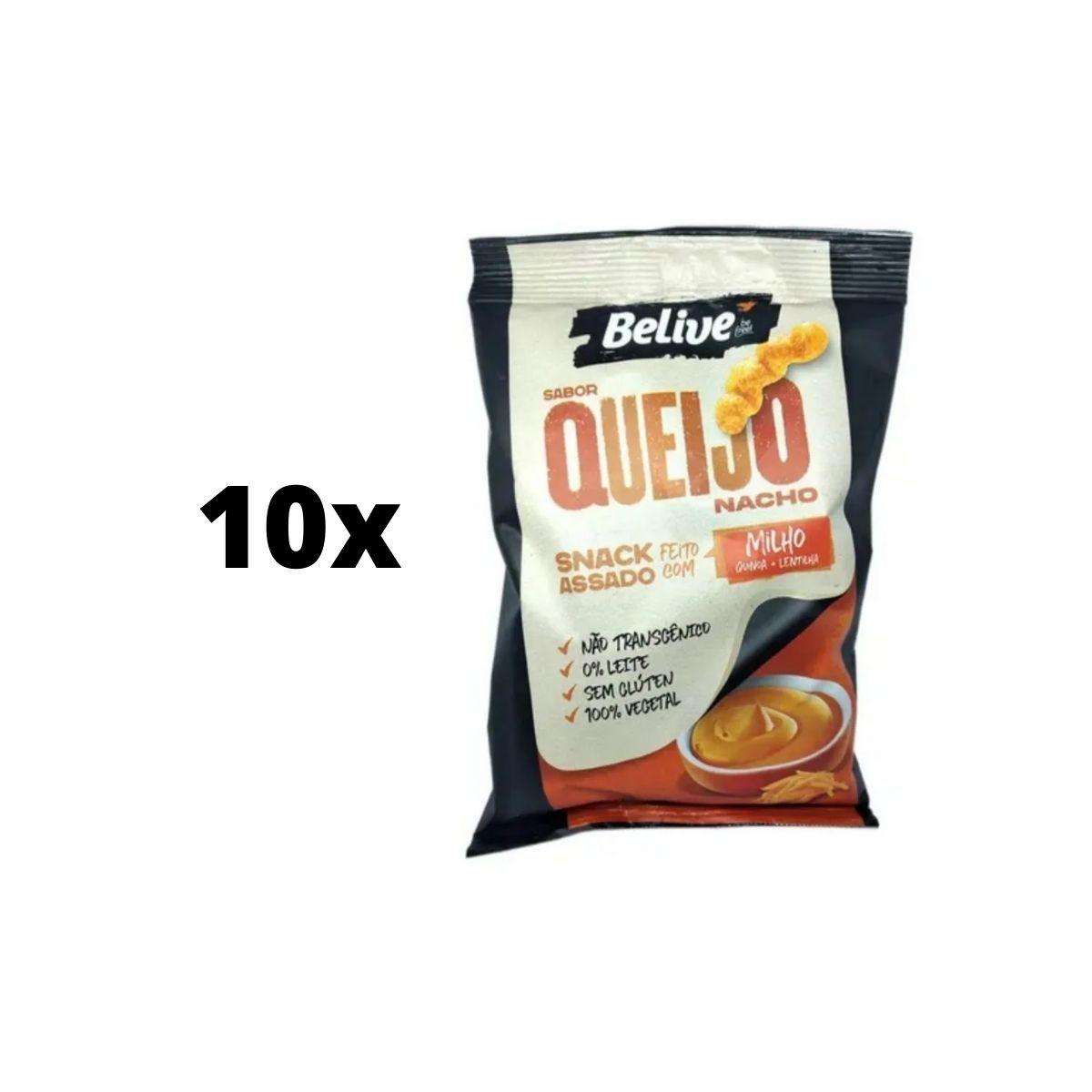 kit 10 Salgadinho Snack Chips Vegano Milho Queijo Nacho 35g Belive