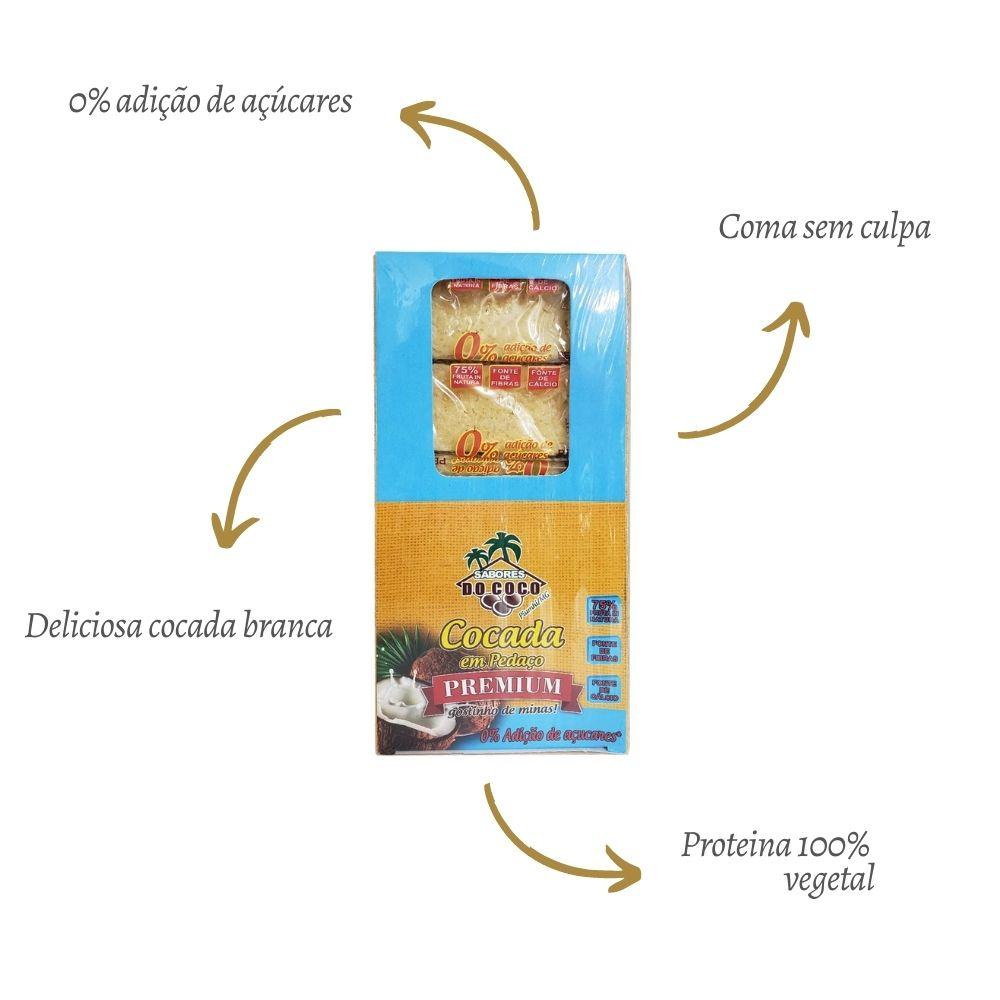 Kit 2 Cocada Premium Zero Adição De Açúcar 40g - Sabores Do Coco