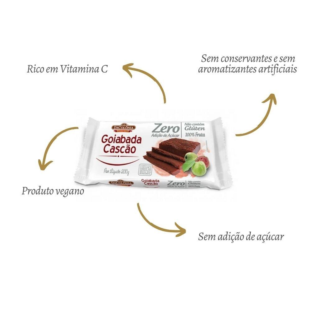 Kit 2 Goiabada Cascão Barra Sem Açúcar Vegano 200g Da Colônia