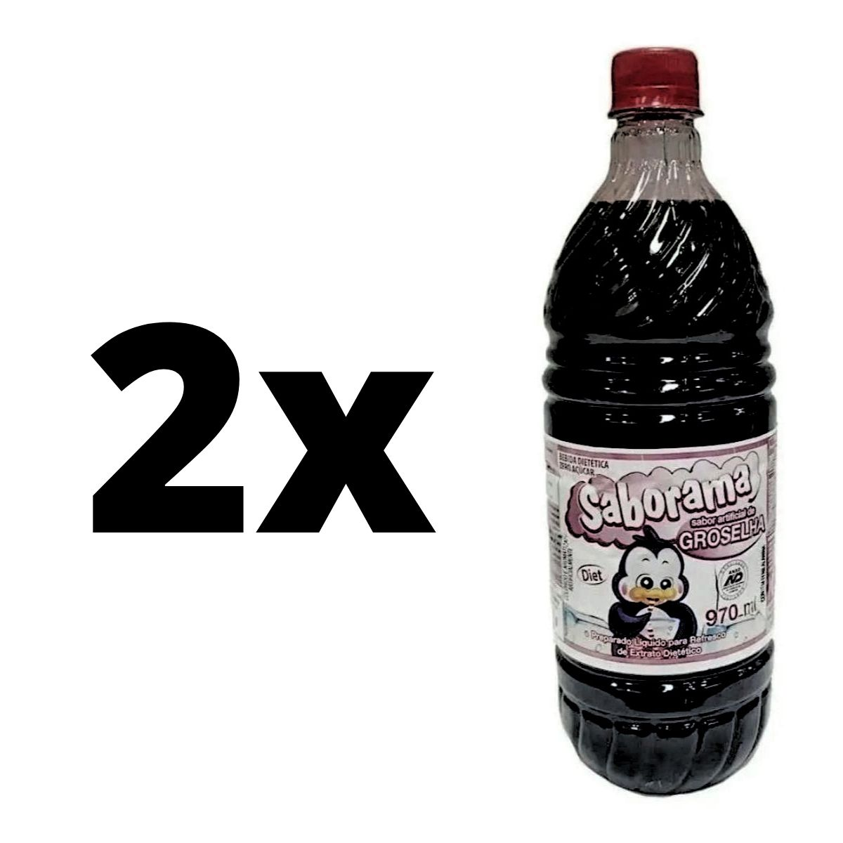 Kit 2 Groselha Diet Saborama Sem Açúcar 970 Ml