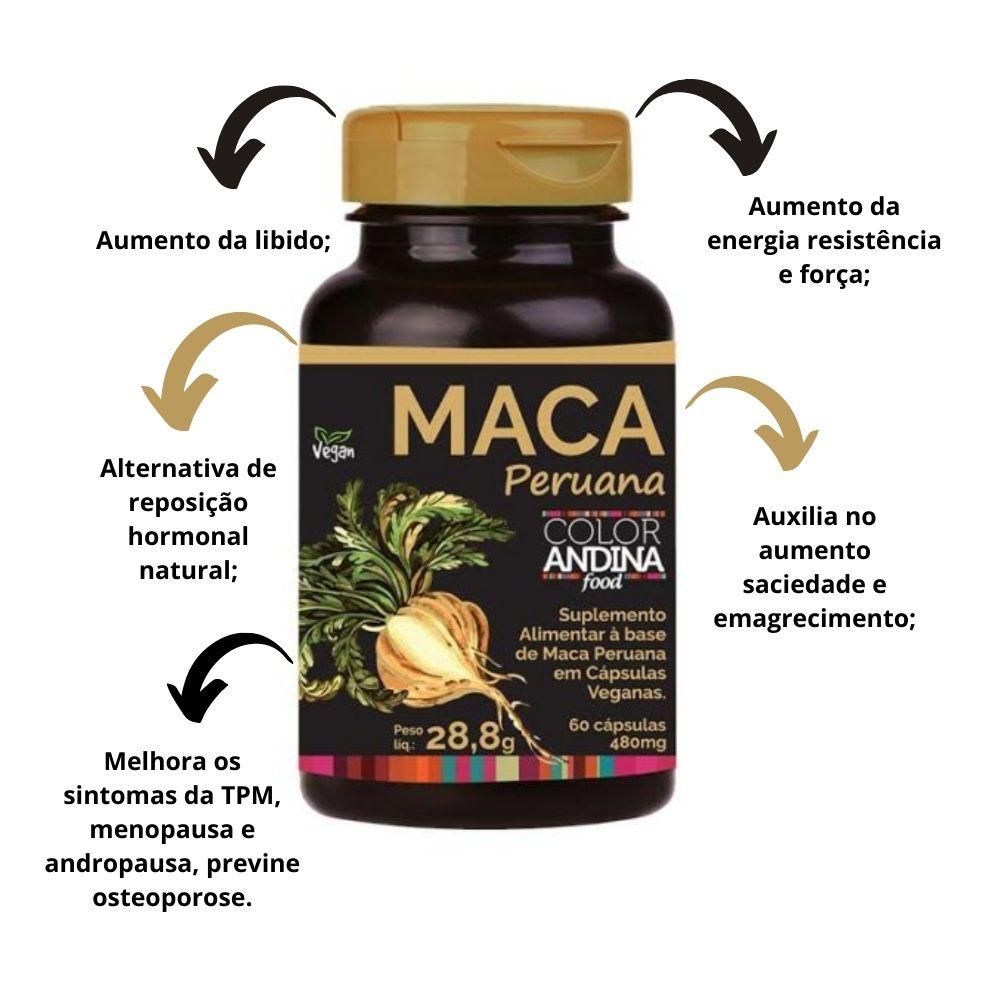 kit 2 Maca Peruana Amarela 60 Cápsulas Color Andina Food