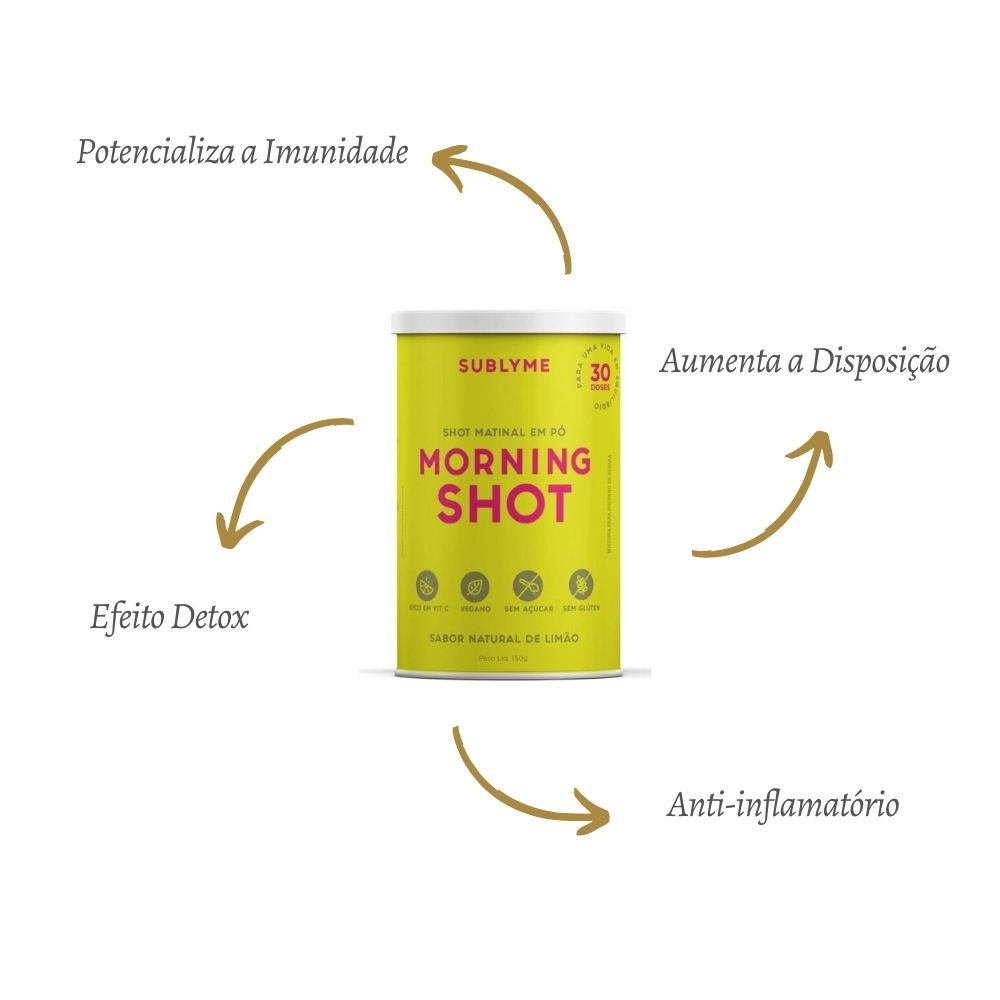 Kit 2 Morning Shot Sabor Limão 150g 30 Doses P/ Imunidade Sublyme