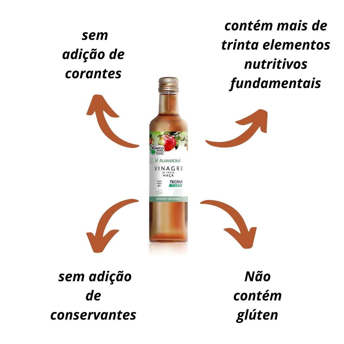 Kit 2 Vinagre orgânico maçã 500ml - Almaromi