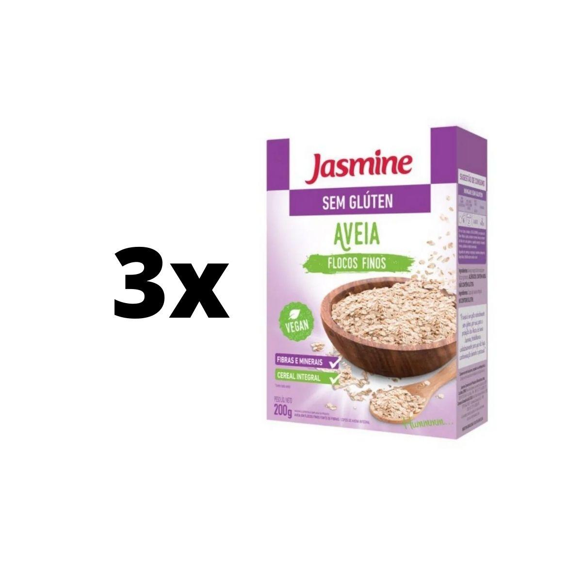 kit 3 Aveia Flocos Finos Sem Glúten 200g Emagrecedor Jasmine