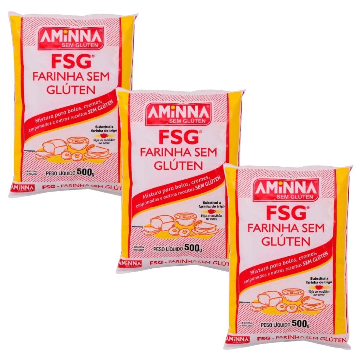 Kit 3 Farinha Para Massas E Bolos Sem Glúten Fsg 500g Aminna