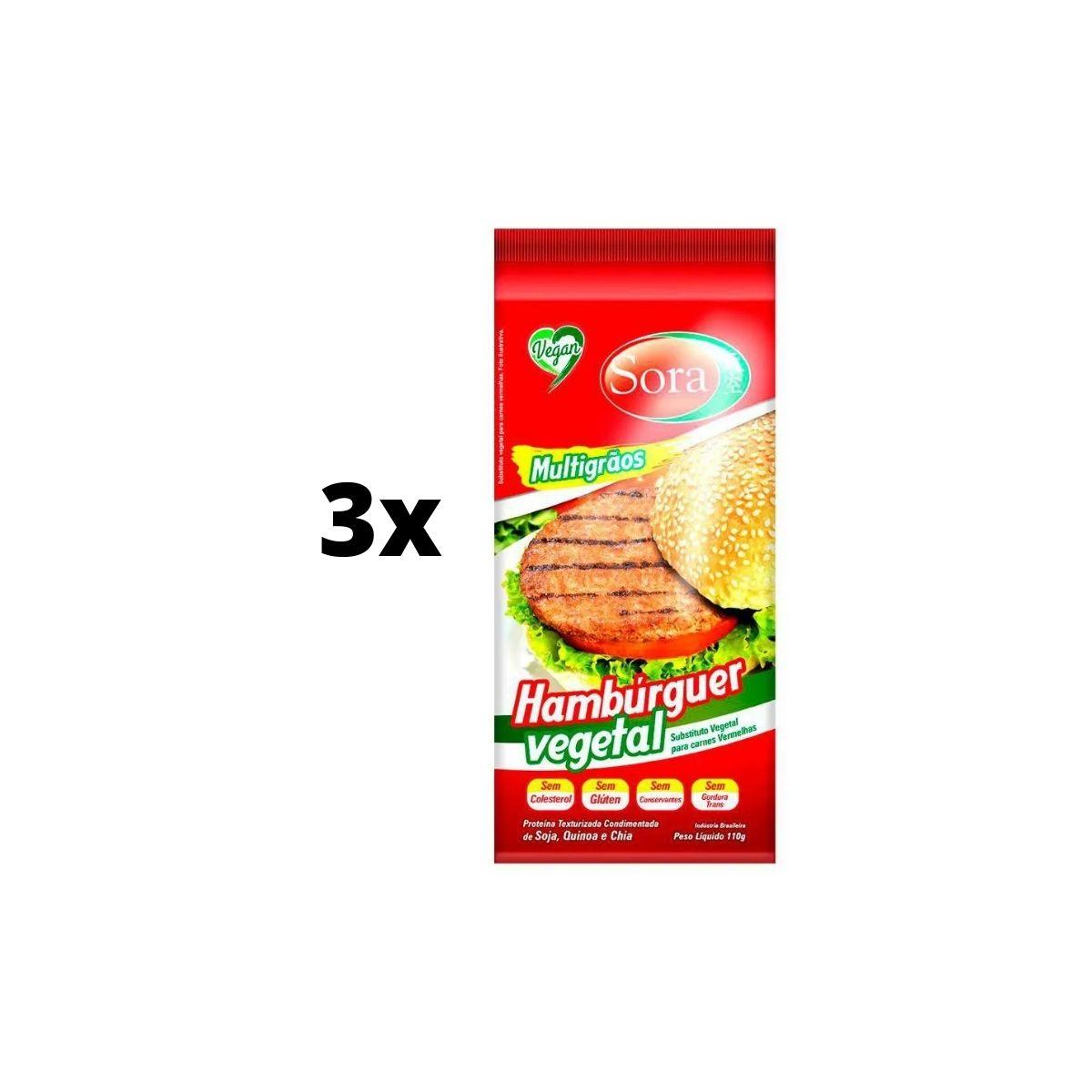 Kit 3 Hamburguer de soja carne vermelha - Sora