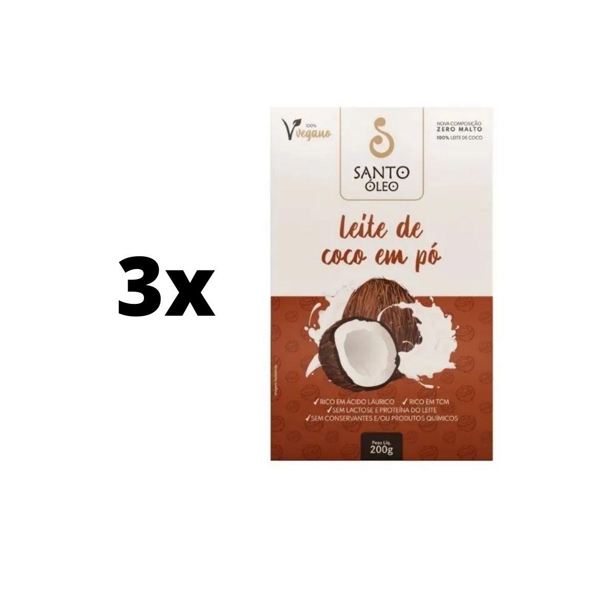Kit 3 Leite De Coco Em Pó 200g 100% Sem Maltodextrina - Santo Óleo