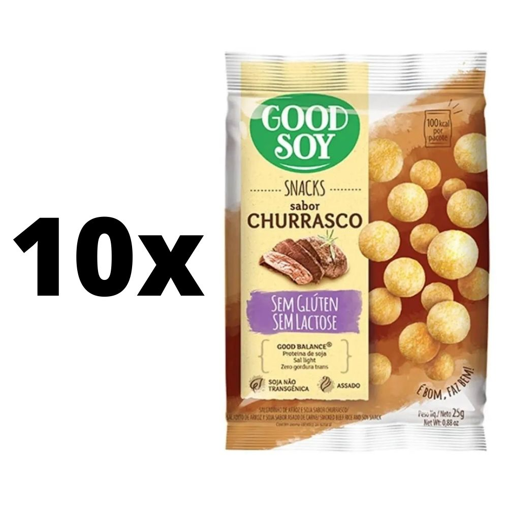 Kit com 10 unidades Salgadinhos Snacks Chips Light De Churrasco Assados 25g Good Soy