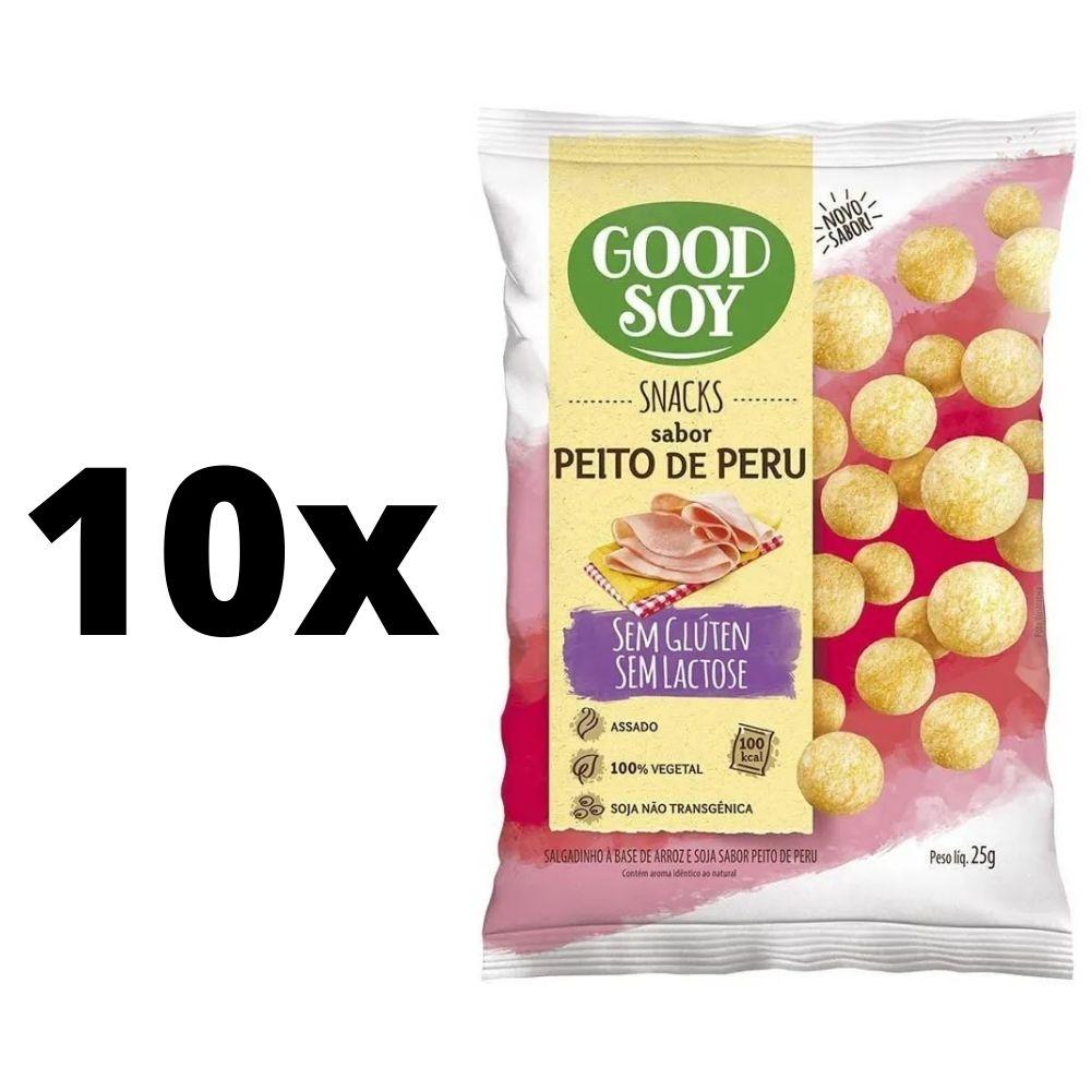 Kit com 10 unidades Salgadinhos Snacks Chips Light De Peito De Peru 25g Good Soy