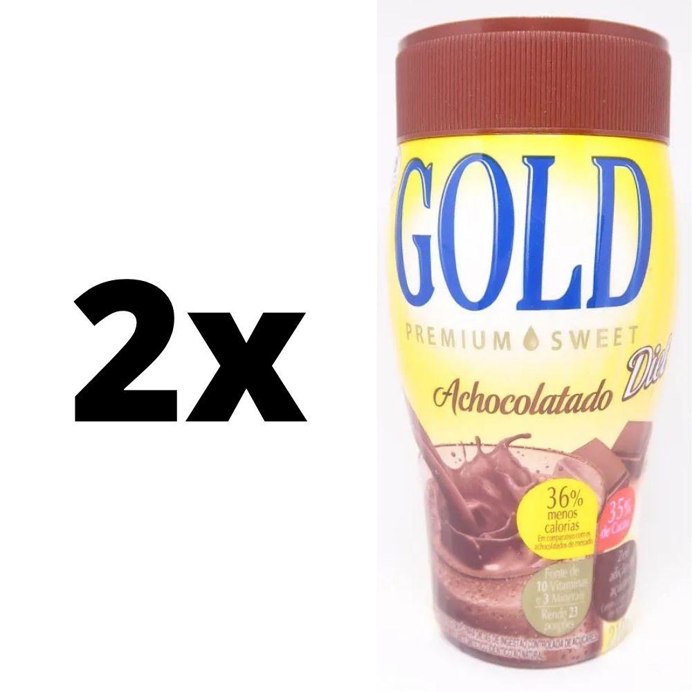 Kit com 2 Achocolatados Diet Gold Zero Açúcar - Premium