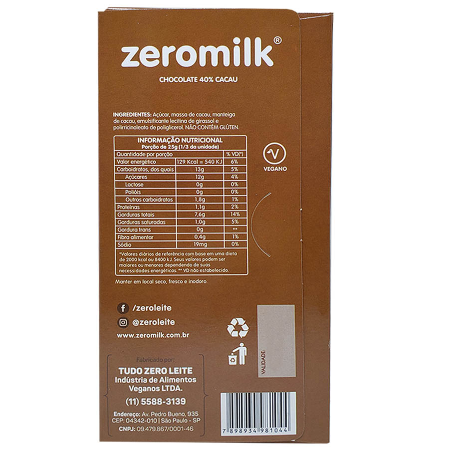 Kit com 6 Chocolate Vegano 40% Cacau 80g - Zero Milk